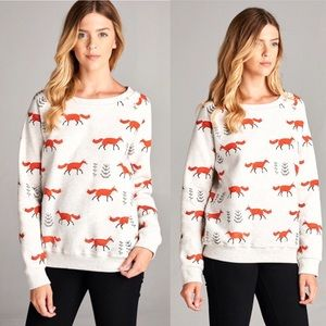 Pre-Order Fox Animal Printed Sweatshirt Sweater